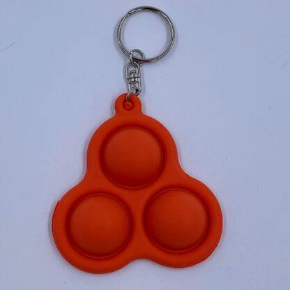 Simple Dimple nøglering orange med tre pop Fidget Toy udsalg